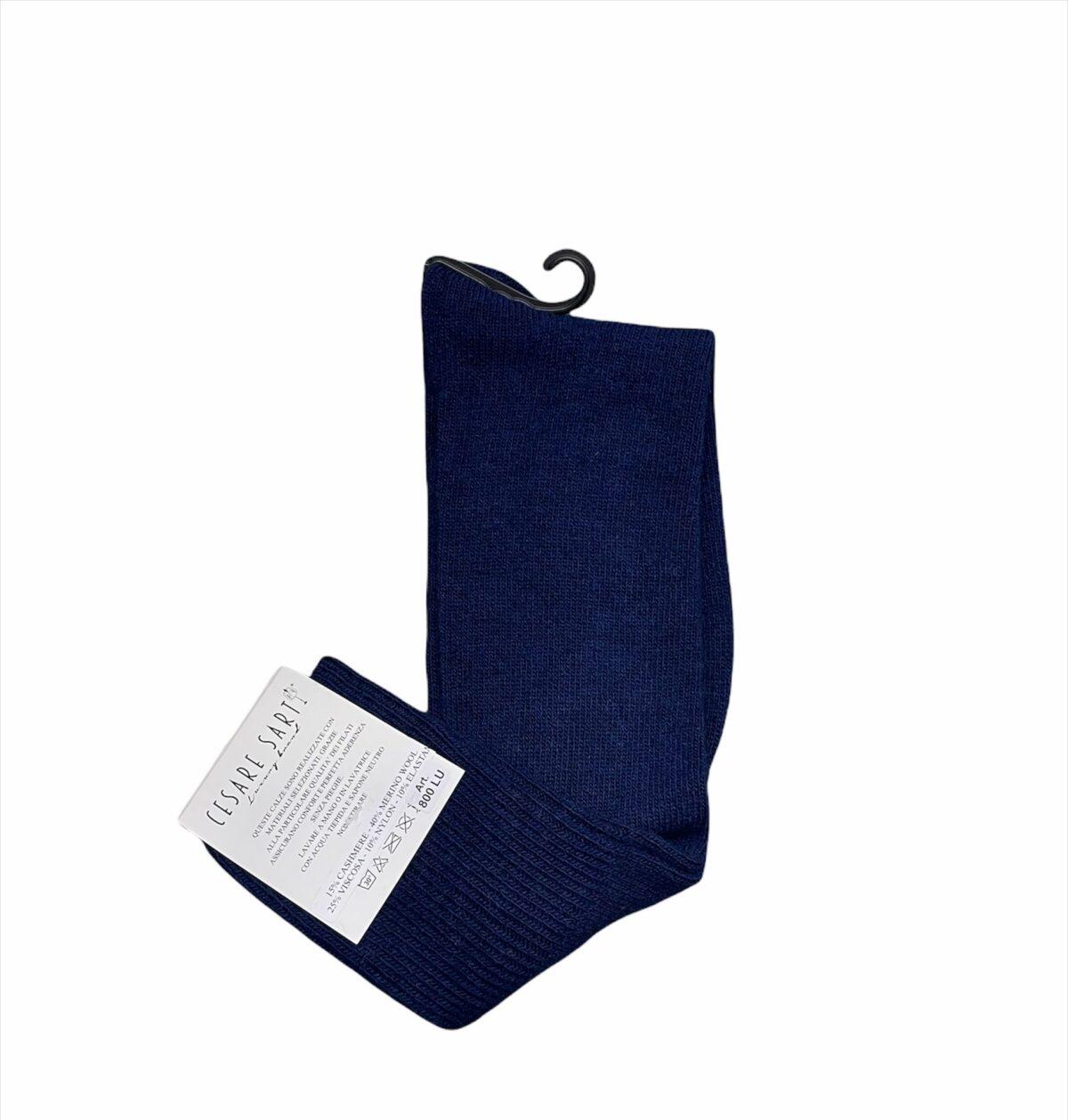 Calza lunga misto cashemere blu