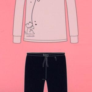 Pigiama Fa7478 caldo cotone pantalone con polsino