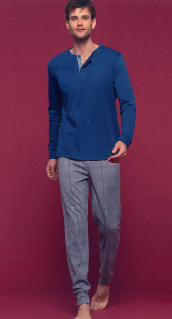 Pigiama Uomo Fc2330 Caldo Cotone pantalone con polsino